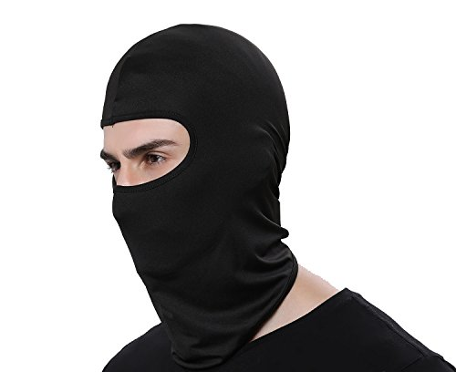 Black Winter Ski - GANWAY Women Men Thermal Swat Ski Winter Balaclava Hood Stopper Face Mask for Skullies Beanies Outdoor Sports Windproof Hat (Black)