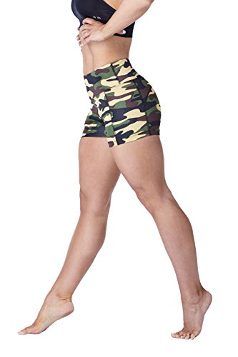 "WEST ZERO TWO Womens Shorts 3"" Compression High Waisted Tummy Control with Back Zip Pocket (Medium, Brown Camo Short)"