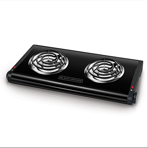 BLACK+DECKER Double Burner Portable Buffet Range, Black, DB1002B