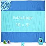 WEKAPO Sand Proof Beach Blanket, Extra Large Oversized 10'X 9', Quick Drying, Lightweight