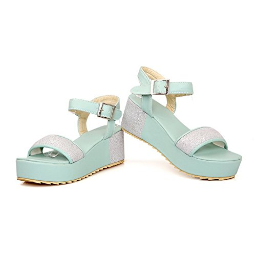 Toe Womens Soft Blue Material PU Kitten M B Open Assorted with 3 Sandals Platform Heel US WeenFashion Colors Buckle 0E6dd