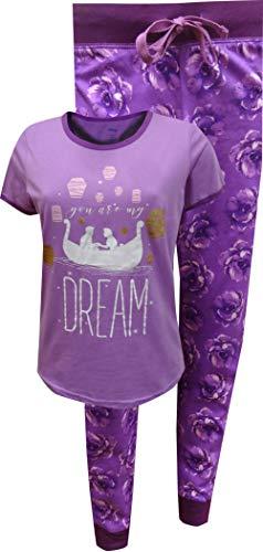 MJC Women's Little Mermaid Ariel and Eric Kiss The Girl Jogger Pajama (Small) Purple