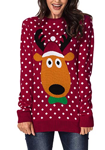 Sidefeel Women Ugly Christmas Pullover Sweater Cute Reindeer Jumper Medium Red -