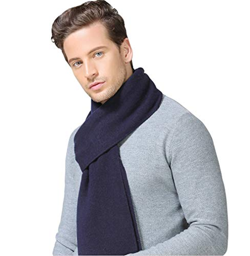 (Taylormia Mens Winter Cashmere Feel Australian Merino Wool Scarf Warm Soft Knit Scarves blue)