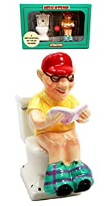 Atlantic Collectibles Morning Toilet Seat Quiet Time Grandpa Reading Newspapers Ceramic Magnetic Salt Pepper Shakers Set Figurines