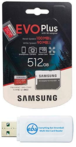 Samsung 512GB Micro SDXC EVO+ Plus Memory Card for Samsung Phone Works with Galaxy A11, A31, A41, M31 Cell Phone (MB-MC512) Bundle with (1) Everything But Stromboli MicroSD Card Reader