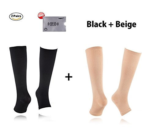 2Pair Open Toe Compression Knee High Anti-Fatigue Sock Calf Support Stocking (S / M, Beige + - Stockings Toe Knee Open Support