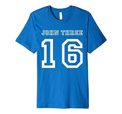 Men's John 3:16 T-Shirt, Three 16, 316 Colors Sports Jersey Style Medium Royal Blue