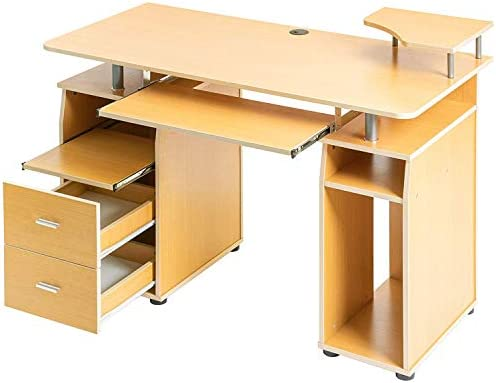 Home Office Computer Desk, with Pull-Out Keyboard Tray and Drawers, Study Wooden Table Workstation, Beech