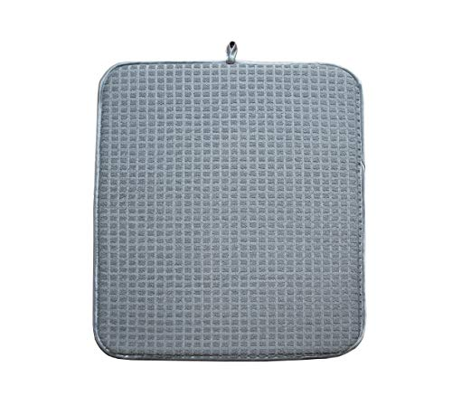 Dish Mat (PorchToPatio Microfiber Dish Drying Mat, 15 by 20 Inch, Dual Sided, Gray)