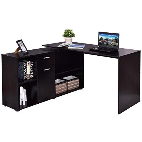 Rotating Computer Desk L-Shape Durable Modern Writing Study Desk Corner PC Elegant Laptop Table Workstation Corner PC Student Laptop Table Study Furniture