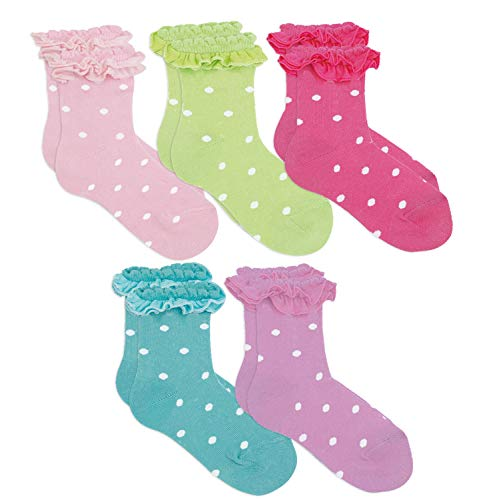 Country Kids Girls' Little Ruffle Top Dress Socks Fancy Polka Dot Fashion, Pack of 5, Multi assortment, 2-4 years (shoe size 6-11.5) ()