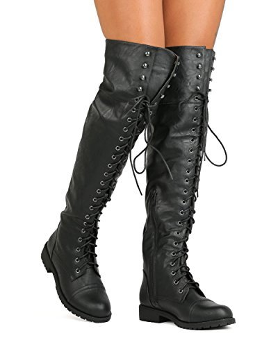 Nature Breeze FG08 Women Leatherette Over The Knee Lace Up Combat Boot - Black (Size: 8.0)