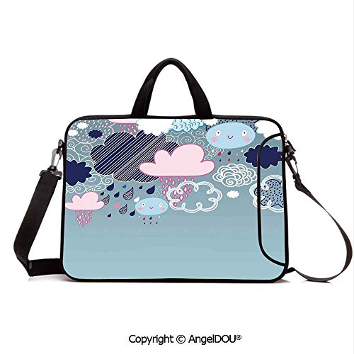 (AngelDOU Neoprene Laptop Shoulder Bag Case Sleeve with Handle and Extra Pocket Clouds Made with Smiley Faces and Ornate Motifs Happy Rainy Season Graphic Image Compatible with MacBook/Ultrabook/HP/A)