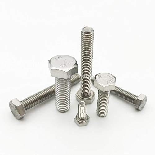con filettatura metrica DIN933 M3 M4 M5 M6 M8 A2-70 304 in acciaio inox con filettatura metrica esterna DIN933 Ochoos Set di 10 viti a testa esagonale