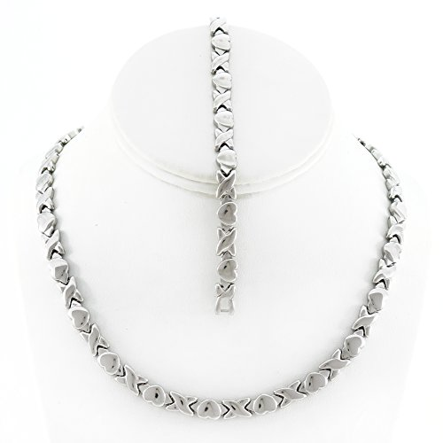 Polished Stampato Necklace - Silver Tone Hugs and Kisses Stainless Steel Stampato Necklace and Bracelet Set
