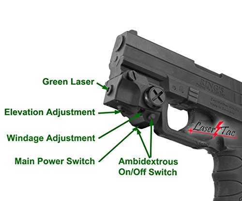 LaserTac Subcompact Rechargeable Green Laser Sight for