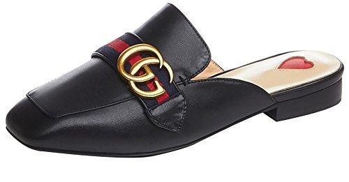 Calaier Ladies Catxit 2,5 Cm Western Heel Slip Slippers Scarpe Nere