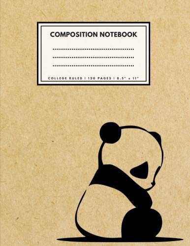 College Ruled Composition Notebook: Cute Panda Brown Paper Soft Cover | Large (8.5 x 11 inches) Letter Size | 120 pages | Lined with Margins (Narrow) Retro Notes