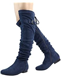 Womens Fashion Casual Over The Knee Pull On Slouchy Boots