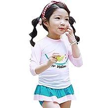 ZYZF Kid Girl Tankini Bikini Swimwear Long Sleeve Swimsuit Cover Rash Guard Sun Protection UPF 50+ UV