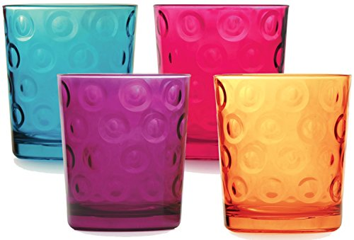 Circleware Circles Multi Colores Glass Juice Water Whiskey Drinking Glasses Set, 13 Ounce, Set of 4 Double Old Fashioned Drink Beverage Cups, Limited Edition Glassware