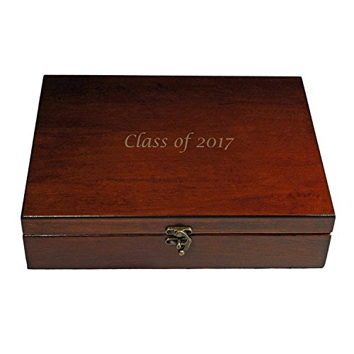 WE Games Custom Engraved Monogram Old World Wooden Treasure Box with Latch