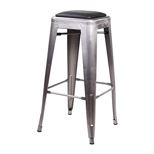 GIA 30-Inch Backless Bar Height Stool with Faux Leather Seat, Gunmetal/Black, 4-Pack
