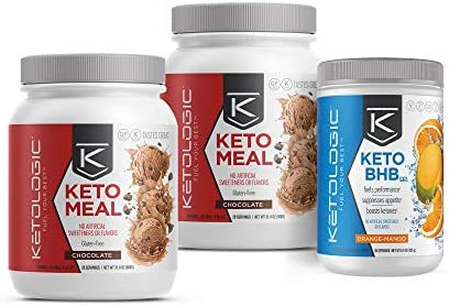 KetoLogic Keto 30 Challenge Bundle, 30-Day Supply | Includes 2 Meal Replacement Shakes with MCT [Chocolate] & 1 BHB Salt [Orange-Mango] | Suppresses Appetite, Promotes Weight Loss & Increases Energy