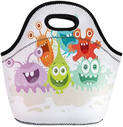 Semtomn Neoprene Lunch Tote Bag Cartoon Monsters Funny Smiling Germs Character Big Eyes Reusable Cooler Bags Insulated Thermal Picnic Handbag for Travel,School,Outdoors,Work