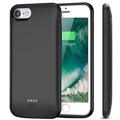 iPhone 7 8 6 6s Battery Charger Case, 4000mAh Portable Protective Charging Case for Apple iPhone 6s 6 7 8 (4.7 inch) Rechargeable Extended Battery Charger Case-(Black)