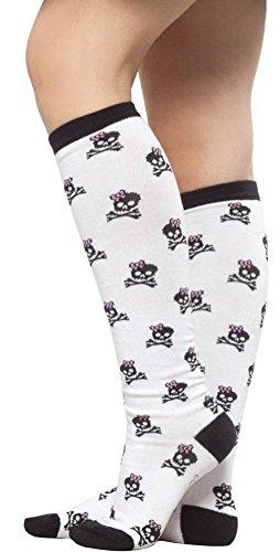 Sourpuss-Womens-Bow-Skull-Knee-Socks