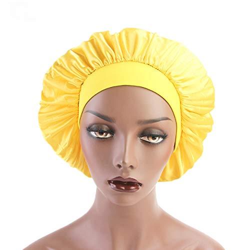 (Night Bonnet Sleep Cap Wide Band Satin Bonnet Cap for Women, Satin Sleeping Hat Head Cover Beanie for Long Hair Loss,Hair Beauty Yellow)