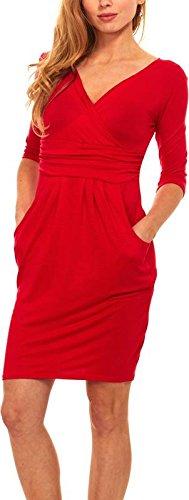 Womens Basic V-Neck Sleeve Dress - 3/4 Sleeve Wrap Pencil Dress with Pockets (3X, - Lace Waist Empire Top