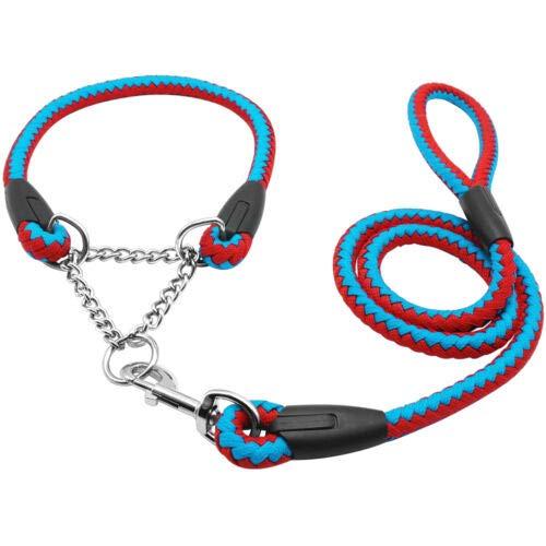 FidgetGear Martingale Rope Braided Dog Training Collar & Leash Set for Labrador redtweiler bluee+Red 22-26