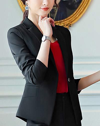 Lapel Negro Chaqueta Casual Top Cardigans Coat Y Abrigo Traje Pantalones Mujer Blazer Elegante wWRxa0qgSg