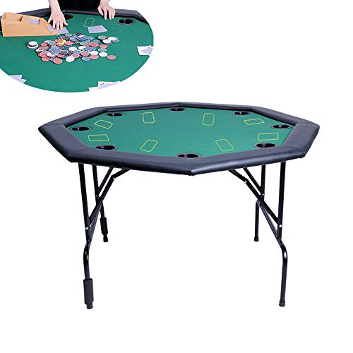 YUSDP Upgrade Version 8 Players Folding Poker Table - with Padded Rails and Cup Holders -Foldable Table Legs Save Space- No Assembly Required- for Home, Casino