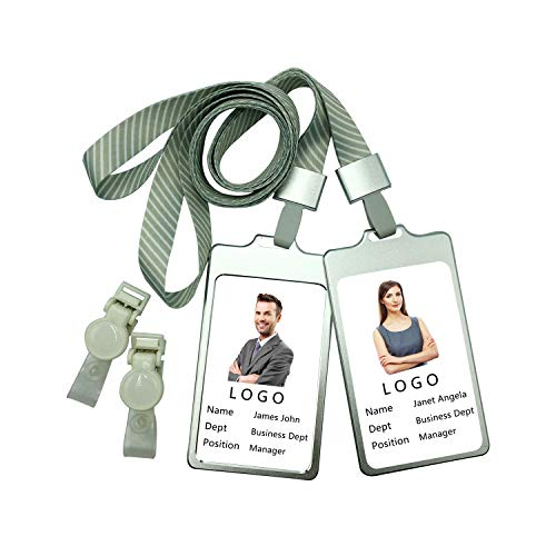 VIEKEY ID Badge Holder with Lanyard Detachable ID Badge Holder with Clip Heavy Duty Lanyard (Silvery) ()