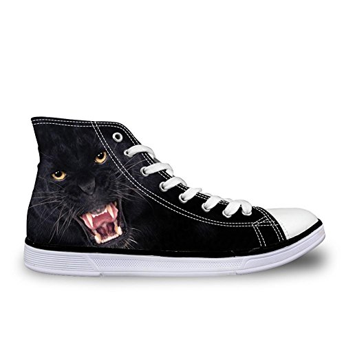 Per Te Disegni Casual Alti Scarpe Di Tela Uomini 3d Animali Stampati Zoo Appartamenti Sneakers Nero Leopardo