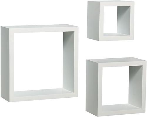 Knape Vogt Shelf-Made 3-Piece Decorative Shadow Box Set, White