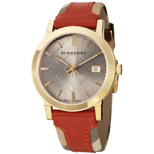 Burberry Women's BU9016 Large Check Leather on Canvas Strap Watch