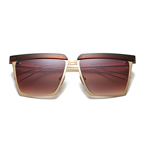 Cool Contact Lenses (Cool Oversized Mirrored Flat Top Sunglasses Square Aviator Shades D79(Gradient Brown))