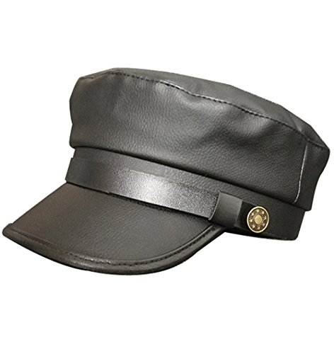 Clecibor Vintage PU Flat Top Army Baseball Cap Unisex Fisherman Sailor Hat Military Navy Hat (58-60cm, Black-2)