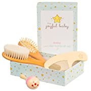 Wooden Baby Brush Set: 4-Pack Set of Natural Goat Hair Bristles Brush + Wooden Bristles Brush + Comb + Wooden Toy | For newborns and toddlers | Perfect Baby Shower Gift (Smiley Pink)