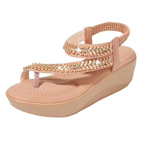 SMALLE_Shoes Thong Flat Sandals,SMALLE◕‿◕ Women Sparkle Sandals Bohemia Flip Flops Ankle Strap Summer Open Toe Dress Sandals Coffee]()