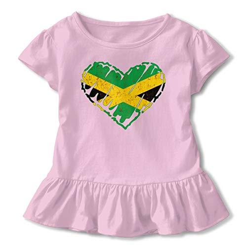 Alfred Weekjey Distressed Jamaica Flag Jamaican Heart Girls' Short-Sleeve Tunic Shirt Tunic Top -