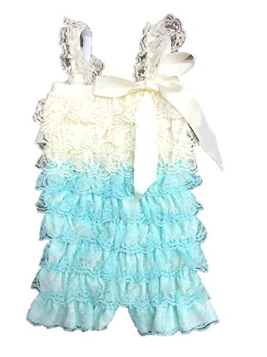 Two Tone Ruffle (Cutie Baby Baby Girls' Lace Ruffle Romper (Large-12-24 months, TwoTone)