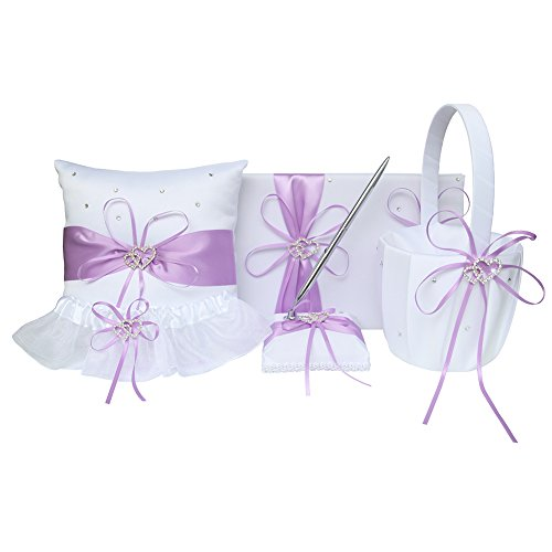 5pcs Wedding Sets Flower Girl Basket + Ring Bearer Pillow + Guest Book with Pen + Pen Set Holder + Bride Garter with 2 Rhinestone Hearts for Rustic Bridal Wedding Shower Ceremony, Lavender Basket Pillow Guest Book Box