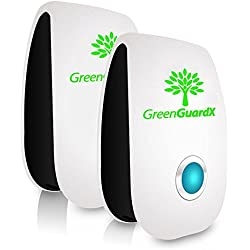 GreenGuardX Ultrasonic Pest Control Repeller (2-Pack)–Indoor Repellant for Mice, Mosquitos, Roaches, Spiders, Insects, & Rodents – Ecofriendly Bug Repeller–Children & Pet Safe, Non-Toxic