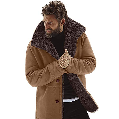 AKIMPE Men's Winter Sheepskin Jacket Warm Wool Lined Mountain Faux Lamb Jackets Coat Brown L2